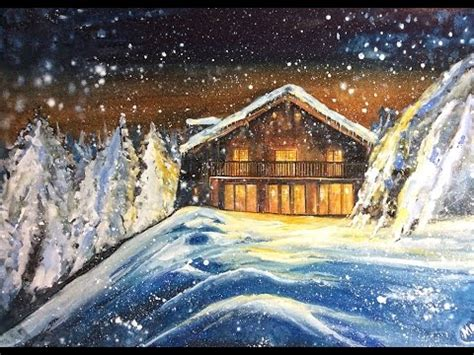 Watercolor and White Gouache Winter Cabin Painting